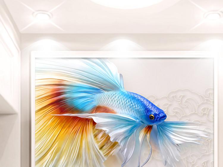 3D浮雕鱼立体荷花中式珠宝玄关过道背景