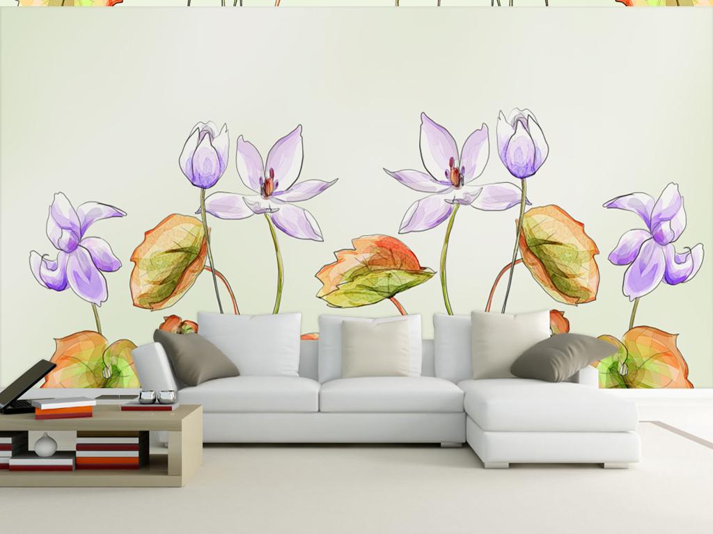 手绘紫色美式田园荷花装饰艺术背景墙