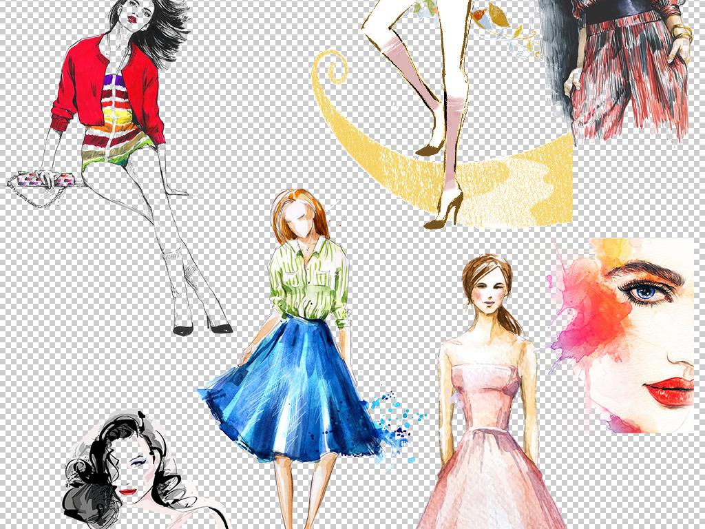 手绘水彩画时装模特美女人物设计免扣图片