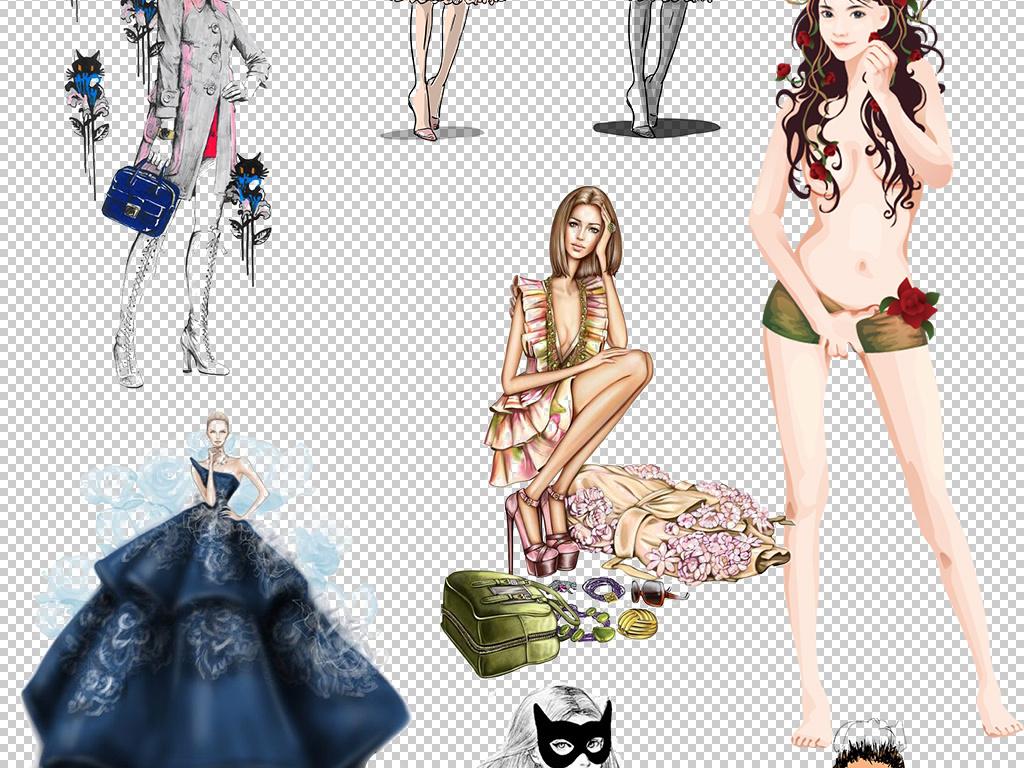 人物形象时装模特手绘彩绘设计png图片