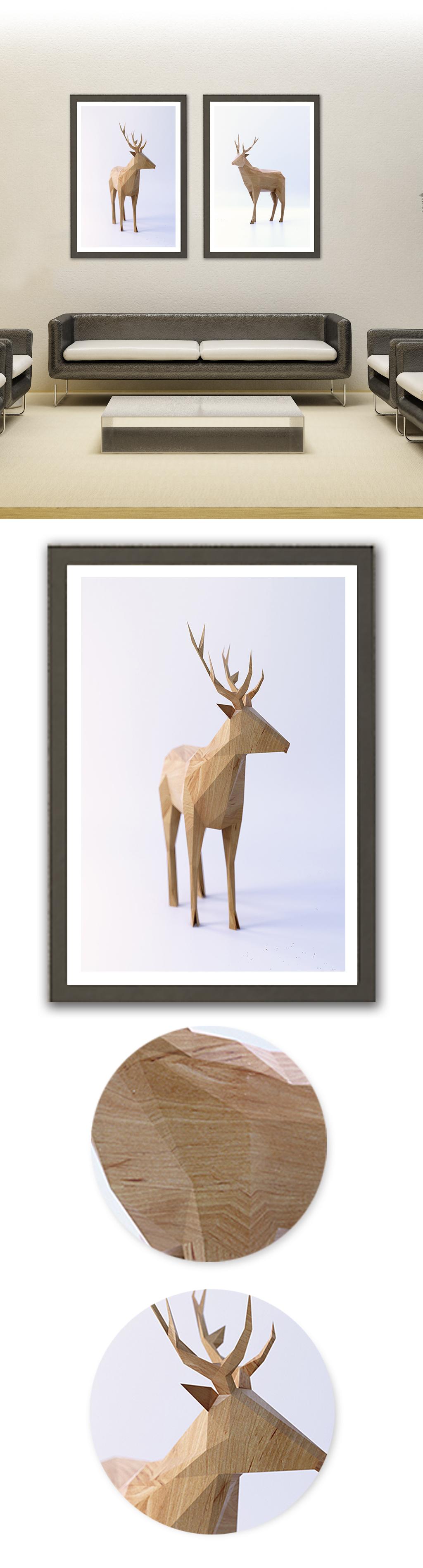 现代简约木雕鹿装饰画