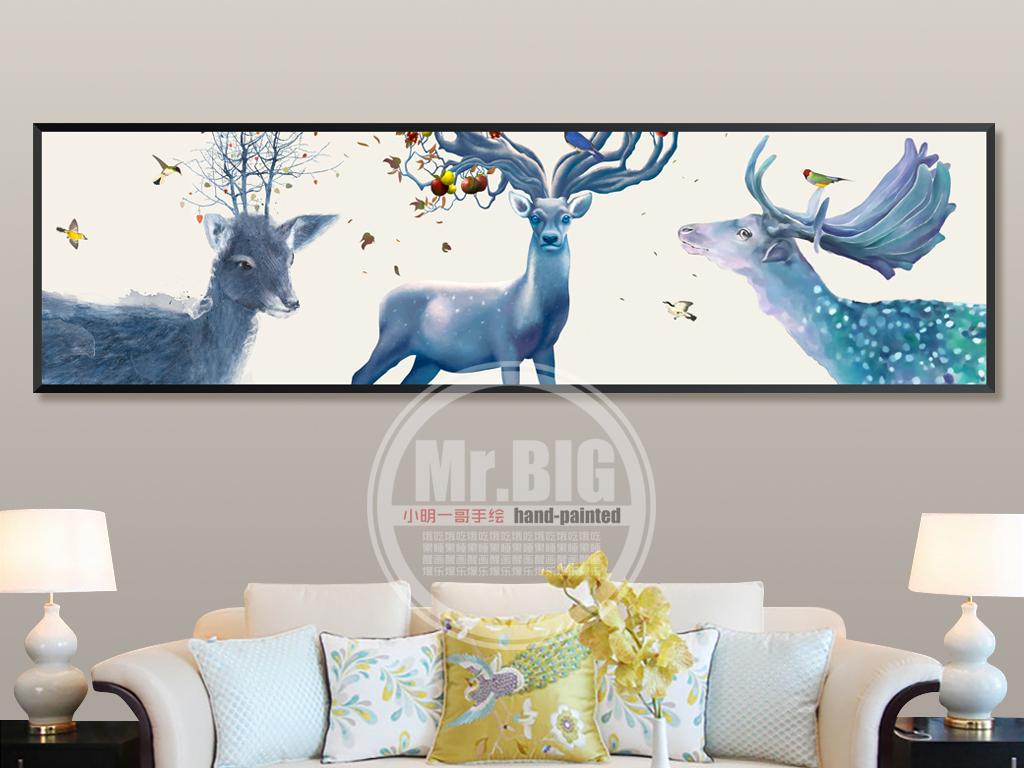 原创高清手绘北欧梦幻森林鹿床头艺术装饰画
