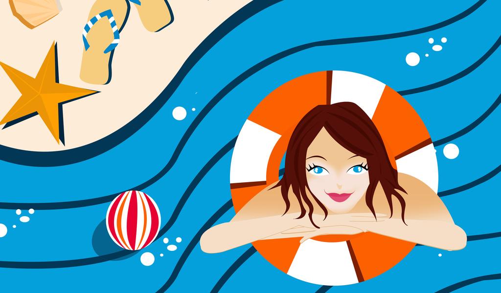夏季休闲旅游海报素材创意文件游泳海报