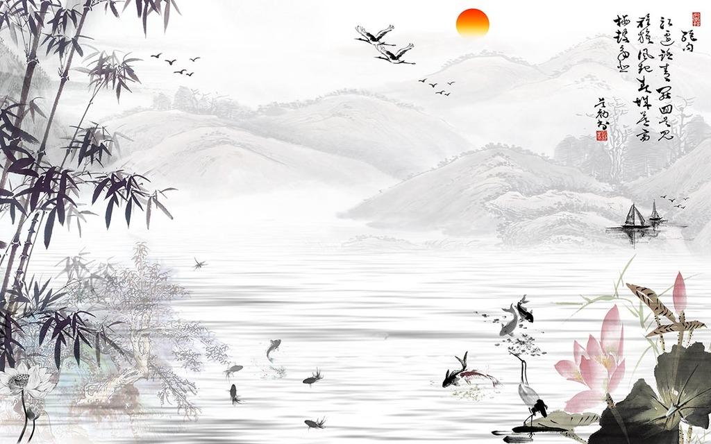 中国风水墨竹子山水画电视背景墙