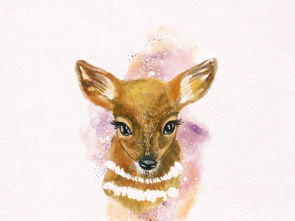 手绘水彩动物装饰画梅花鹿