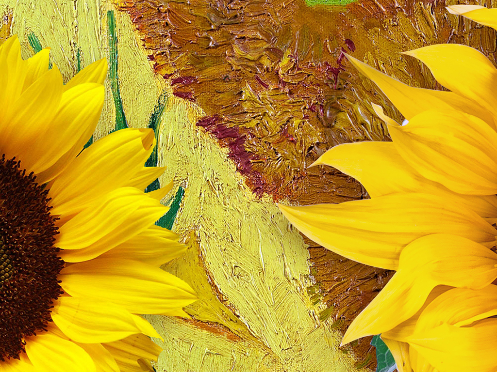 3D向日葵梵高油画玄关