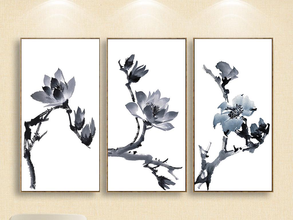 新中式现代简约国画无框画手绘水墨玉兰花
