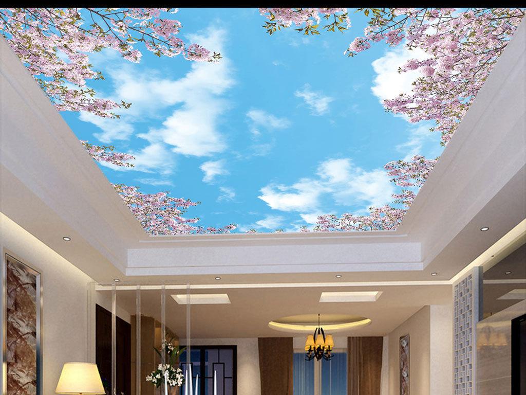 樱花蓝天白云吊顶
