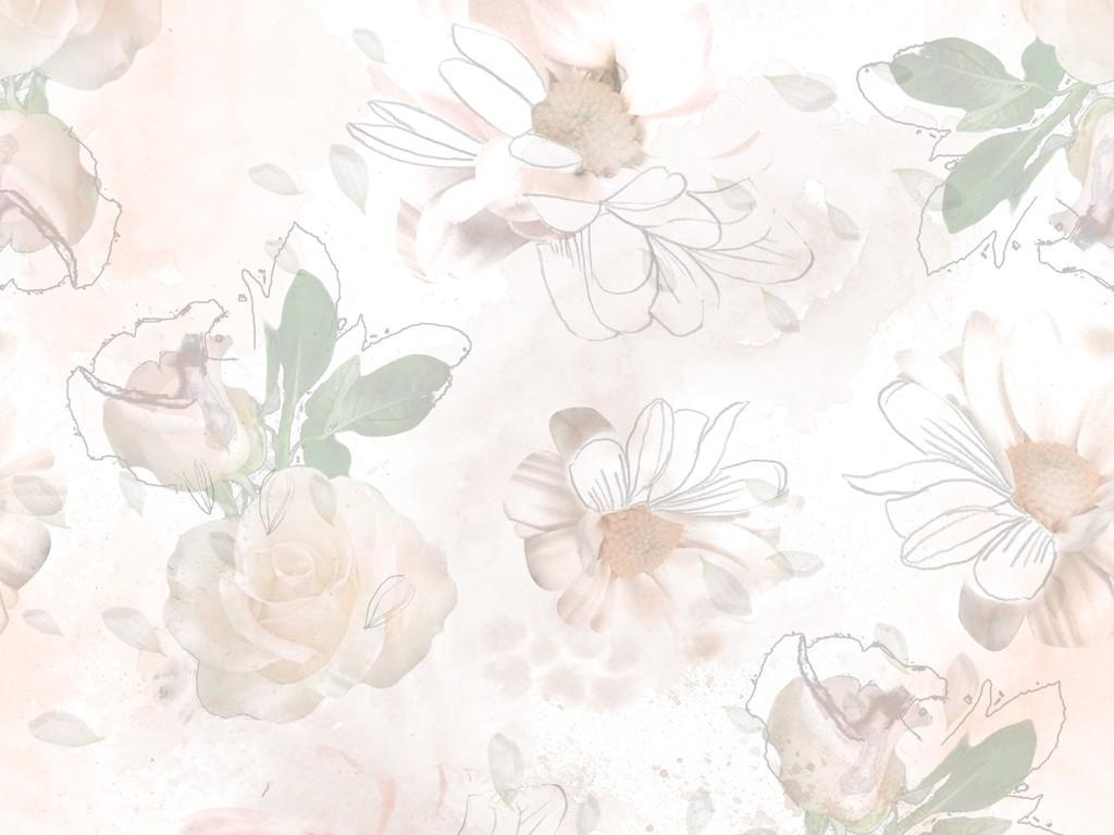 手绘植物花卉背景矢量图