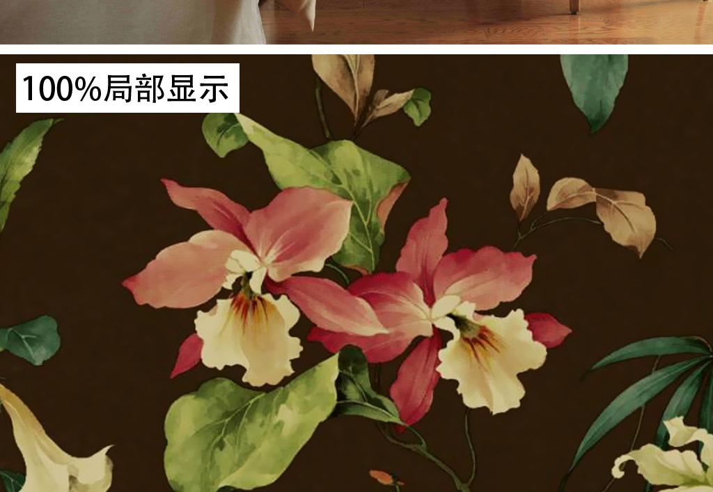 欧式手绘复古花卉百合花田园墙纸壁画背景墙