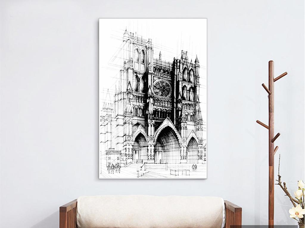 黑白手绘建筑装饰画
