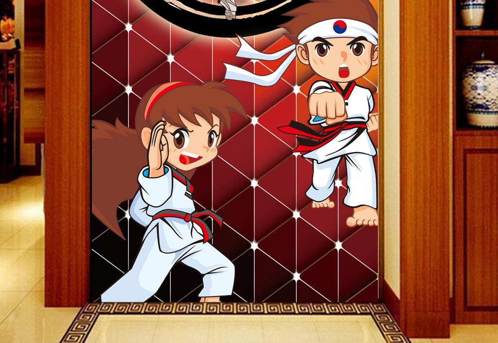 3d背景手绘健身房跆拳道工装玄关