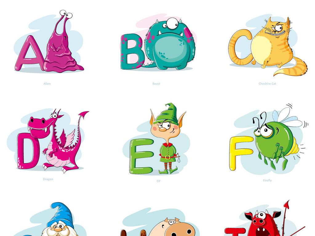 可爱英文字母设计模板学校英语教学海报展板素材图片