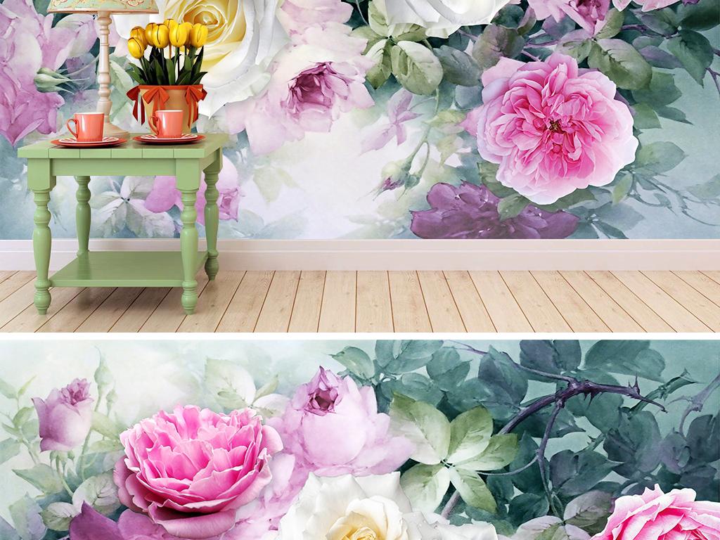背景墙|装饰画 电视背景墙 手绘电视背景墙 > 玫瑰花丛立体水彩背景墙