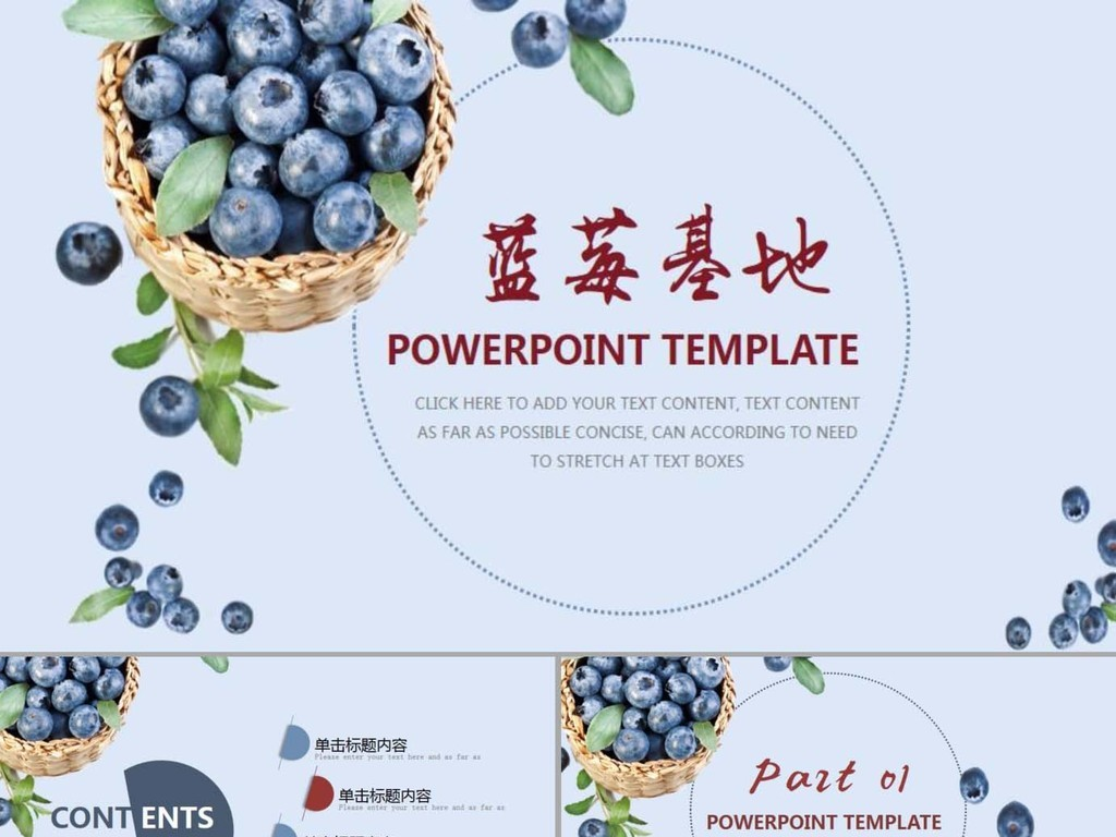 蓝莓基地水果行业ppt模板设计