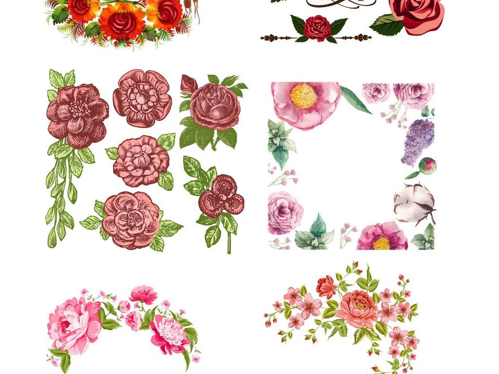 手绘卡通花卉ai矢量素材