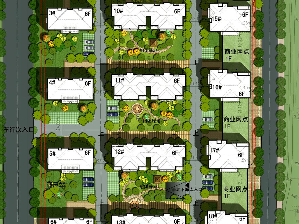 > 高档住宅小区景观规划psd分层彩色平面图  版权图片 设计师 : mail
