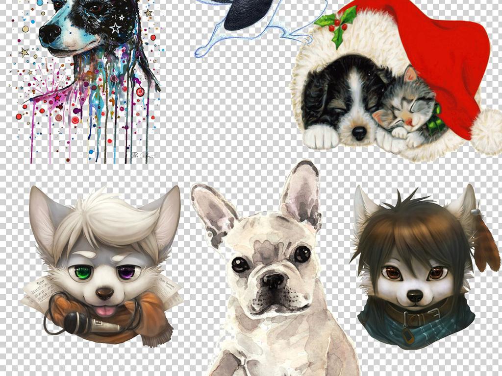 设计元素 自然素材 动物 > 可爱卡通手绘小狗png透明背景素材  版权