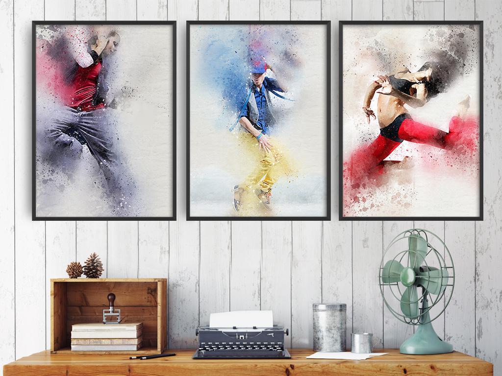 舞者人物跳舞舞蹈装饰画三联组合无框画