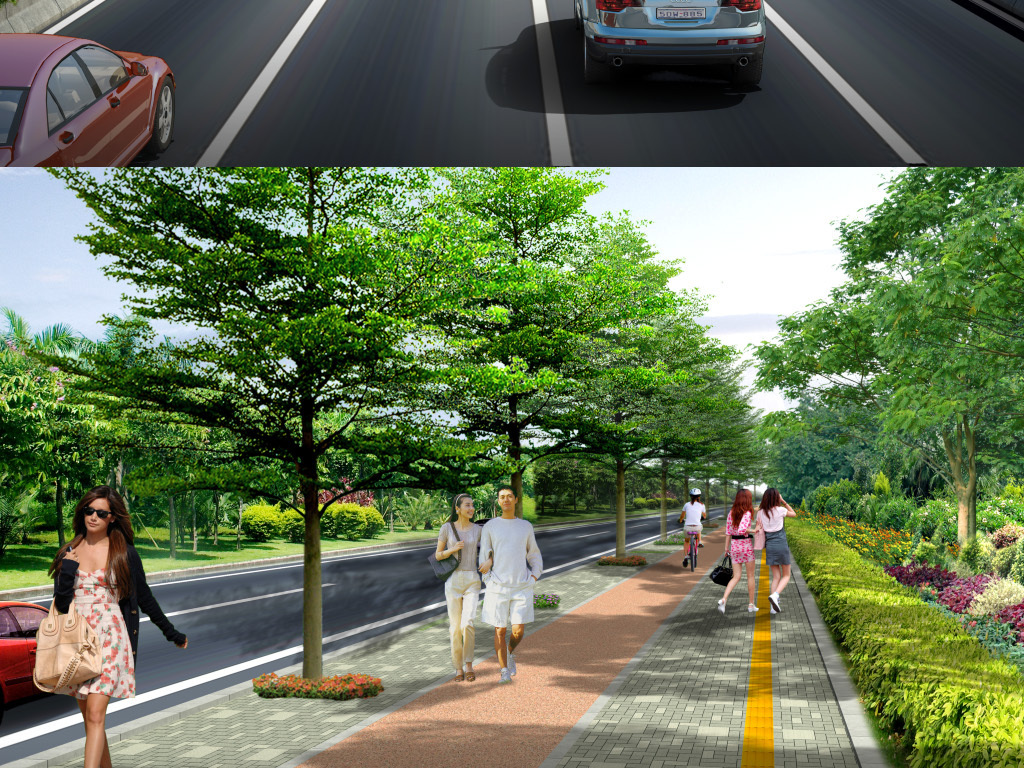 道路景观平面彩图PSD图片
