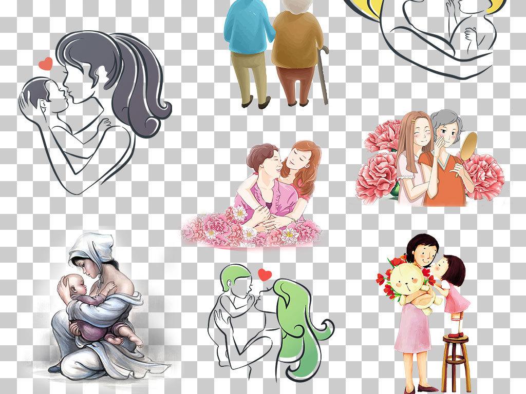 png)                                  手绘人物png人物母亲节母亲