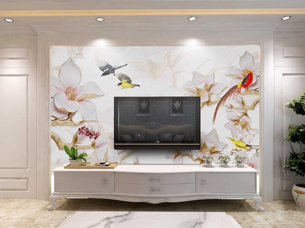 09:53 我图网提供精品流行中式3d立体浮雕玉兰花花鸟彩雕电视背景墙