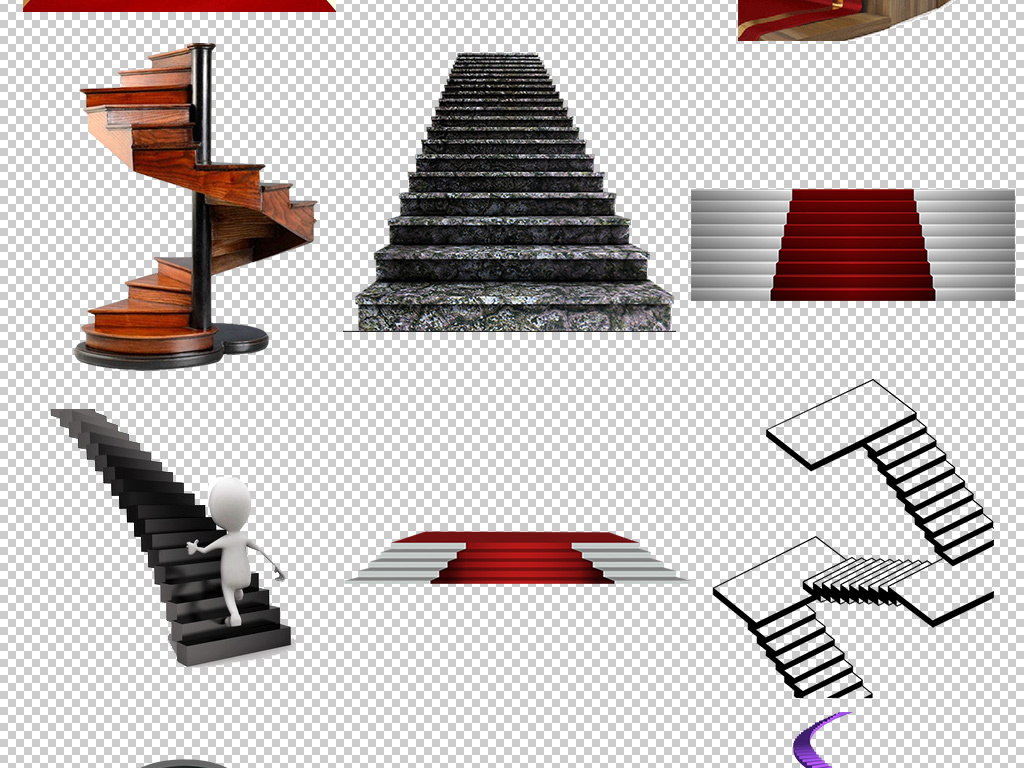 png)爬楼梯                                  旋转楼梯上楼梯手绘