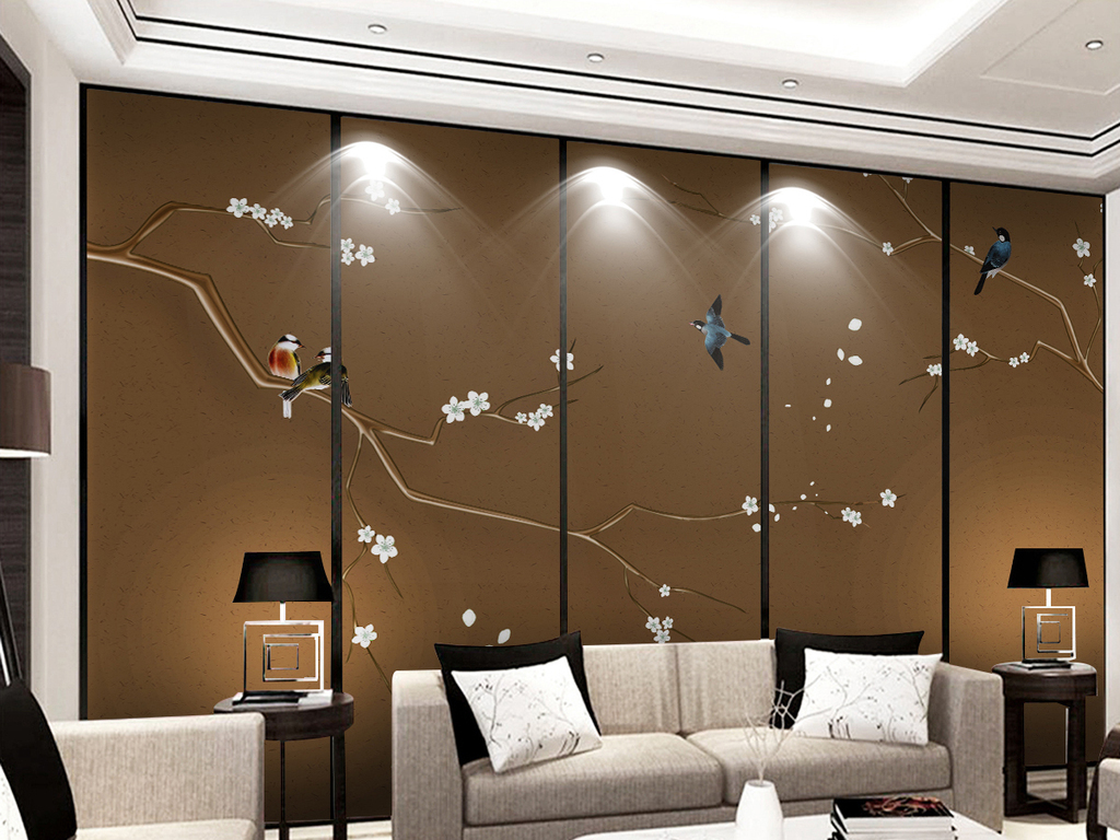 电视背景墙 中式电视背景墙 > 新中式中国风手绘工笔花鸟梨花背景墙