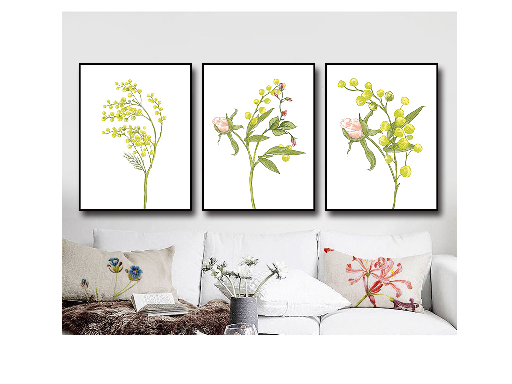 北欧欧式手绘简约花与树装饰三联画
