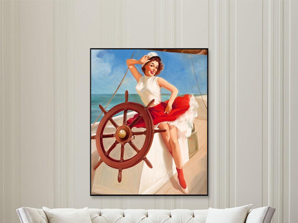 外国美女舵手红唇美女手绘油画装饰画
