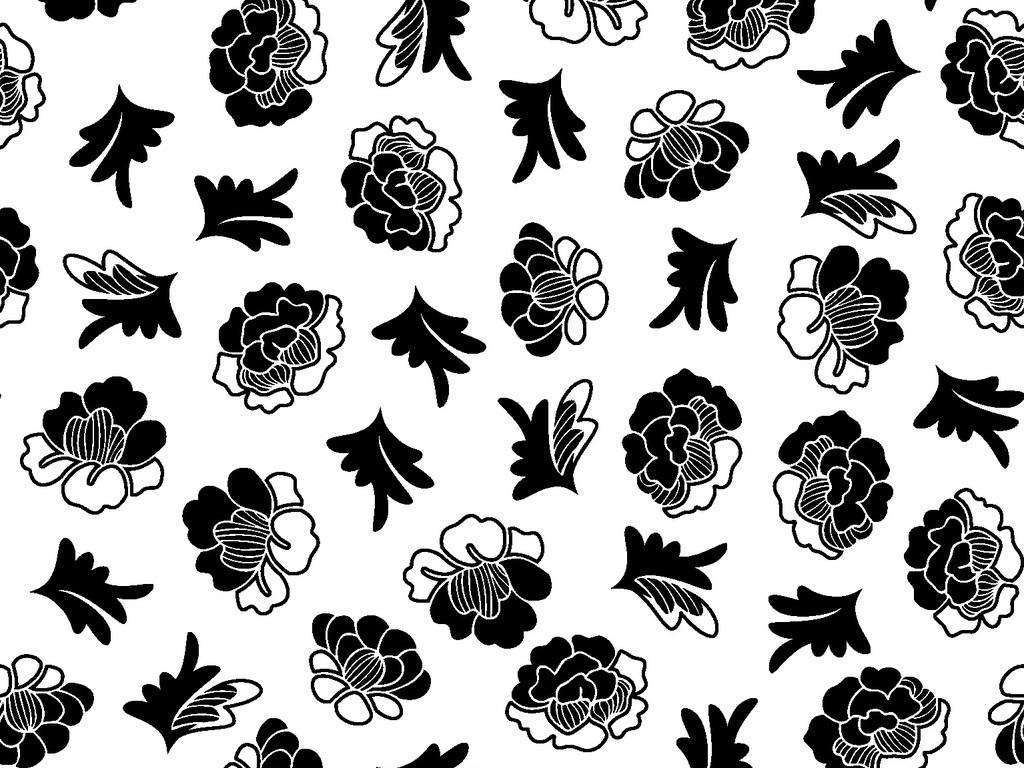 可编辑植物花朵循环印花图案