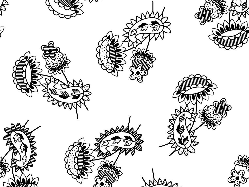 可编辑欧式花卉墙纸图案循环矢量图图片