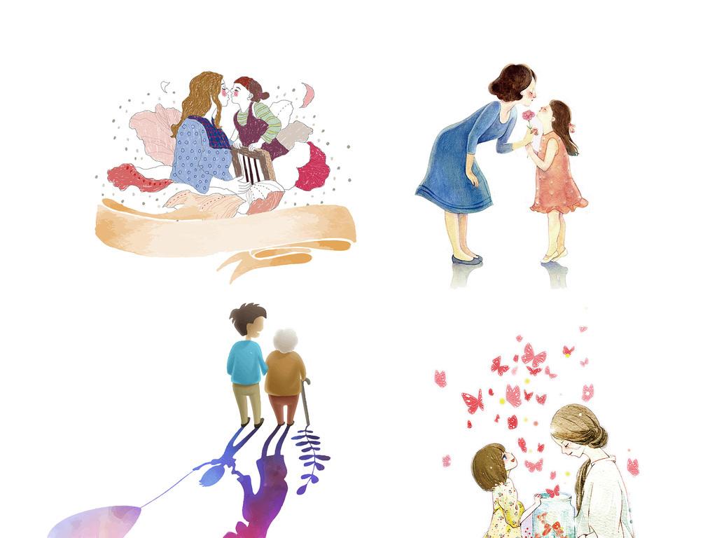 可爱卡通手绘母女