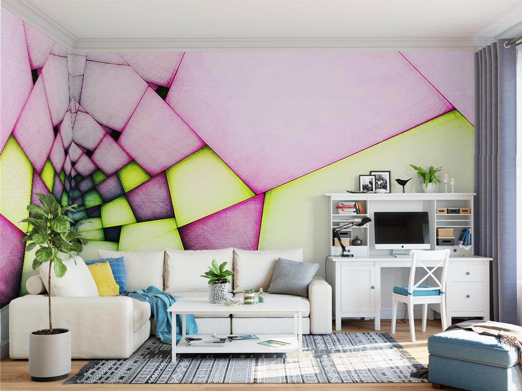 几何手绘人物手绘背景手绘墙手绘背景墙现代字现代城市北欧现代风格