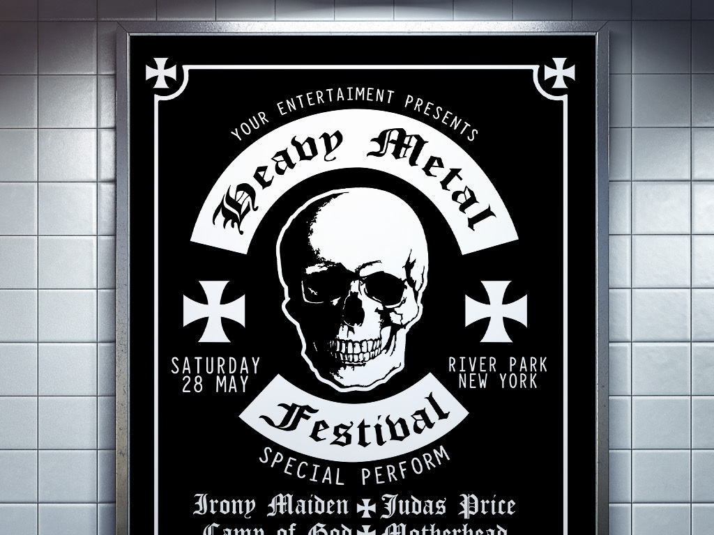 手绘酷黑重金属死亡摇滚音乐节演唱会海报