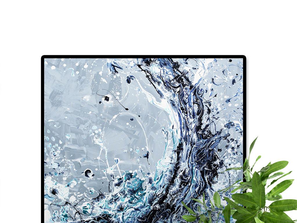 手绘抽象海浪油画