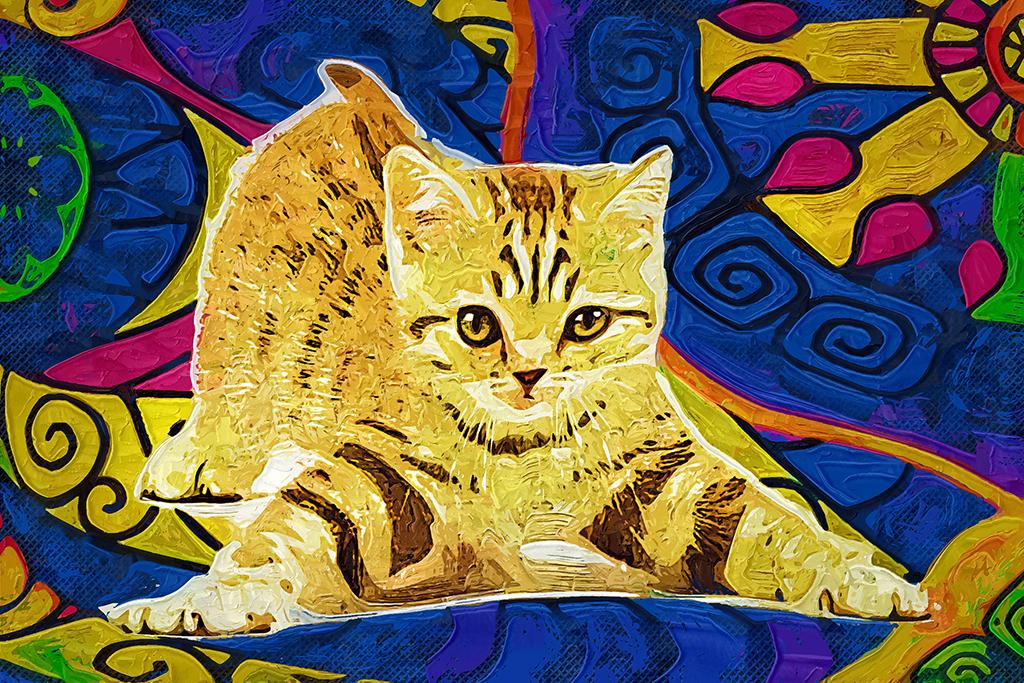 油画猫咪(图片编号:16422512)_动物图案无框画_我图网