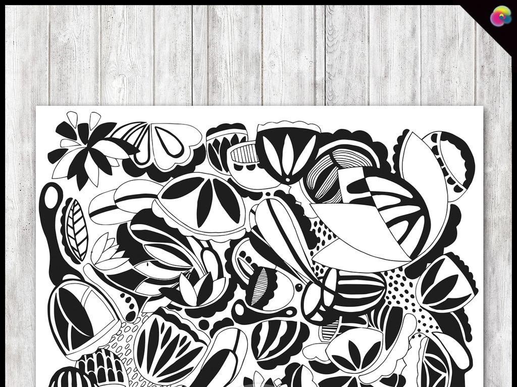 黑白线描花纹花卉装饰画插画