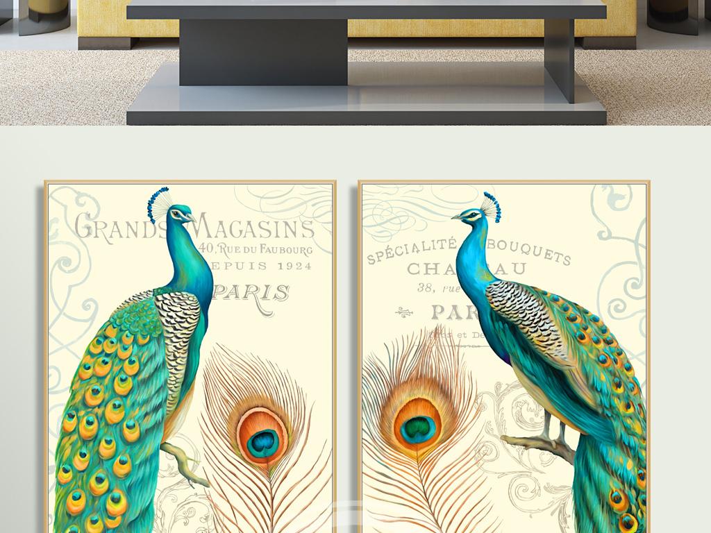 装饰画 北欧装饰画 动物装饰画 > 超高清手绘欧美复古孔雀花卉艺术