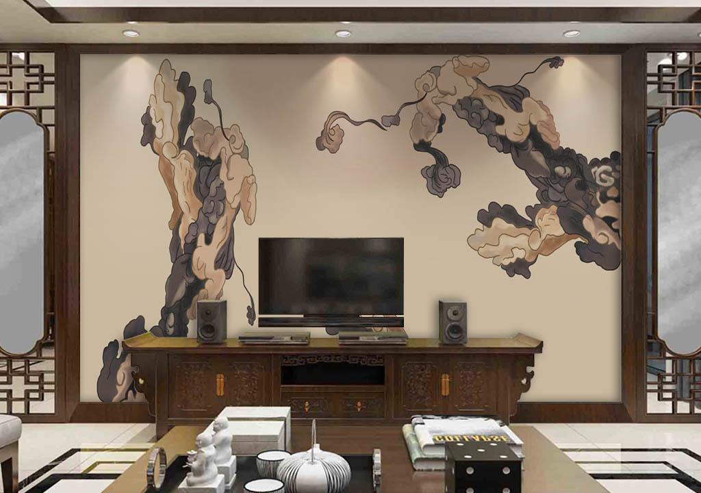 背景墙 电视背景墙 中式电视背景墙 > 新中式手绘祥云背景墙  素材