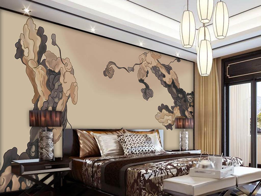 中国风手绘祥云新中式电视背景墙