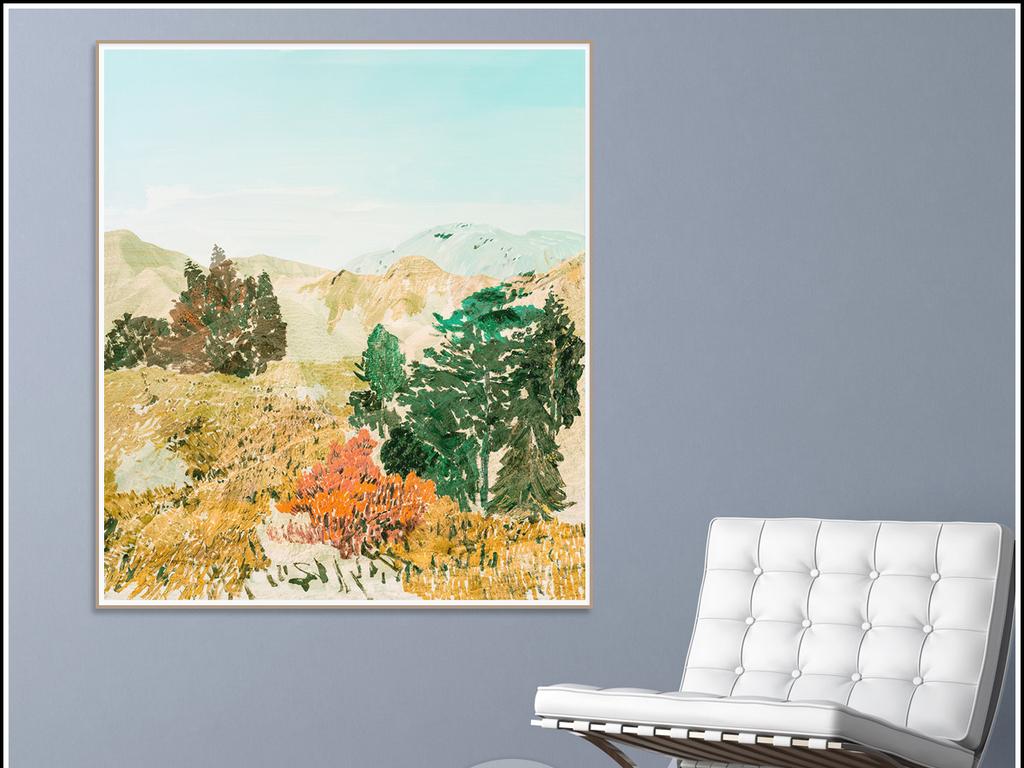 欧式复古怀旧手绘风景油画水彩绘画背景墙