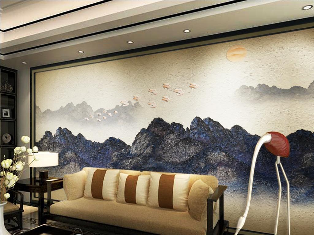 雄伟大气山峰山脉新中式中国风沙发背景墙图片