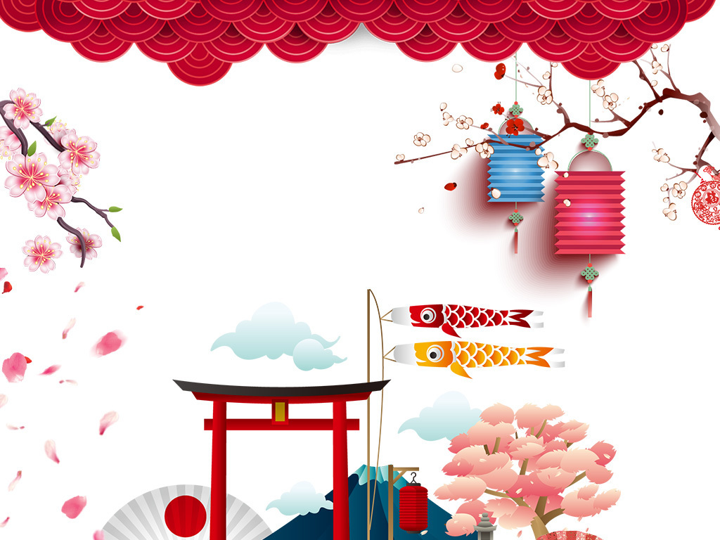 rgb格式高清大图,使用软件为日系折扇日系建筑手绘房子祥云中国结