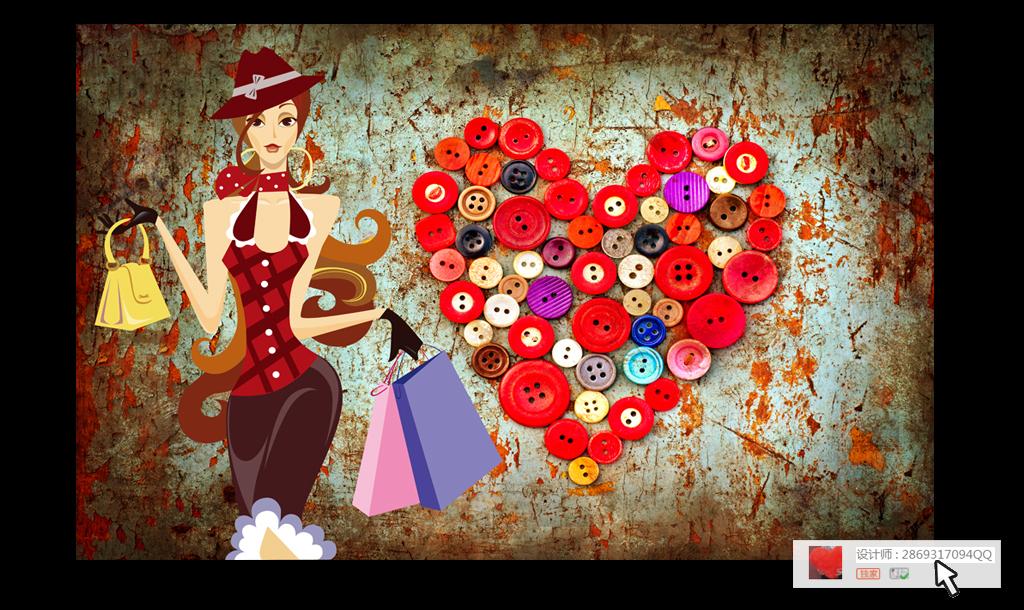手绘美女商场服装店包行纽扣工装背景墙