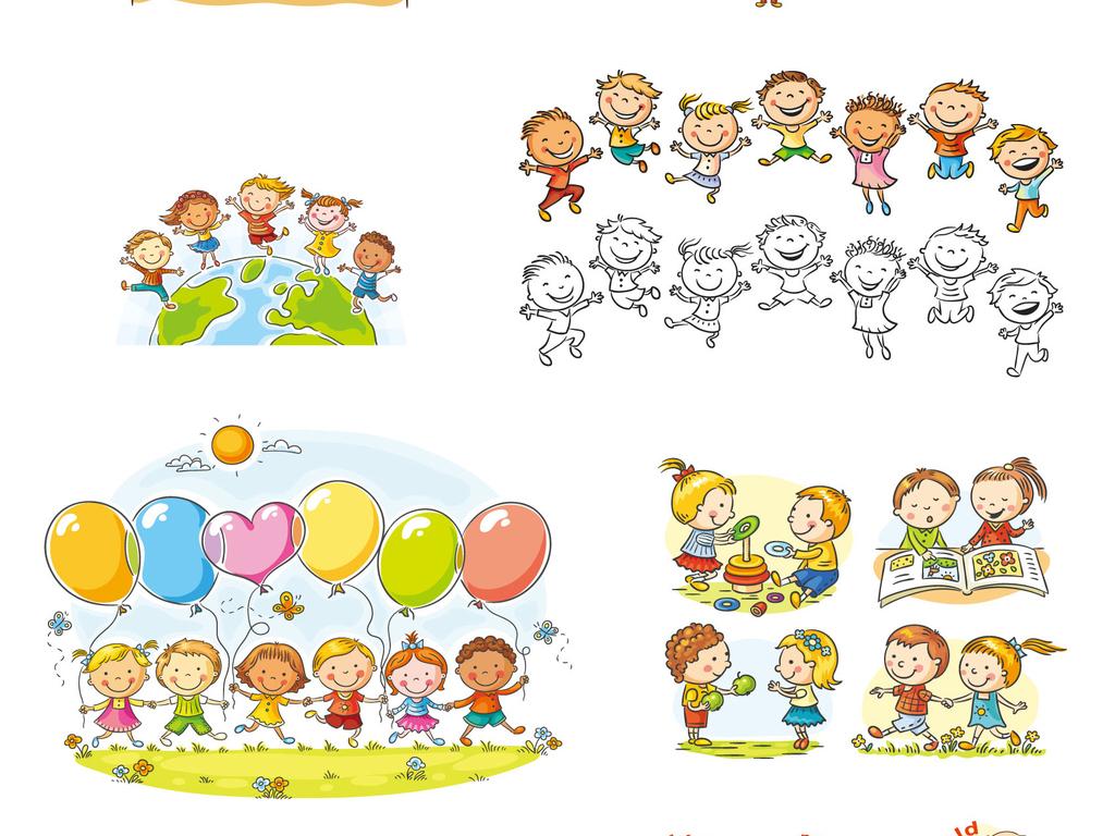 儿童节可爱小孩卡通画卡通小孩