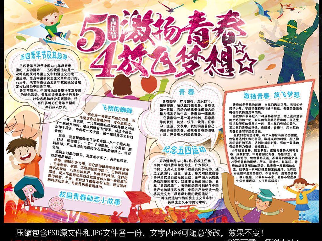 激扬青春放飞梦想小报五四青年节手抄报小报图片