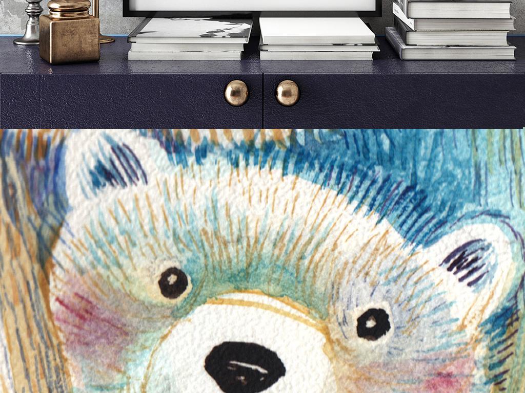 装饰画 现代简约装饰画 卡通动漫装饰画 > 手绘水彩熊妈妈和宝宝装饰
