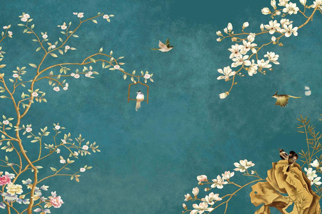 现代新中式真丝手绘工笔花鸟背景墙装饰画