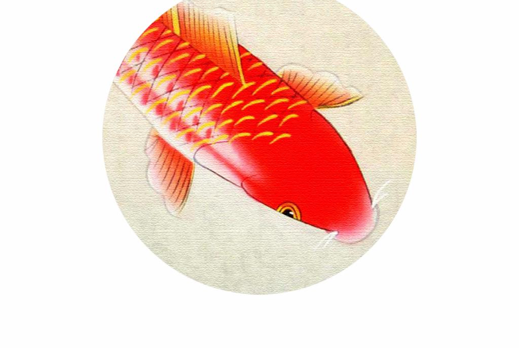 新中式水墨七鲤鱼古风办公室装饰画